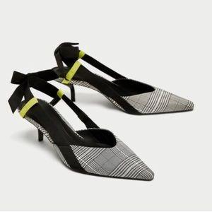NWOT Zara plaid slingbacks